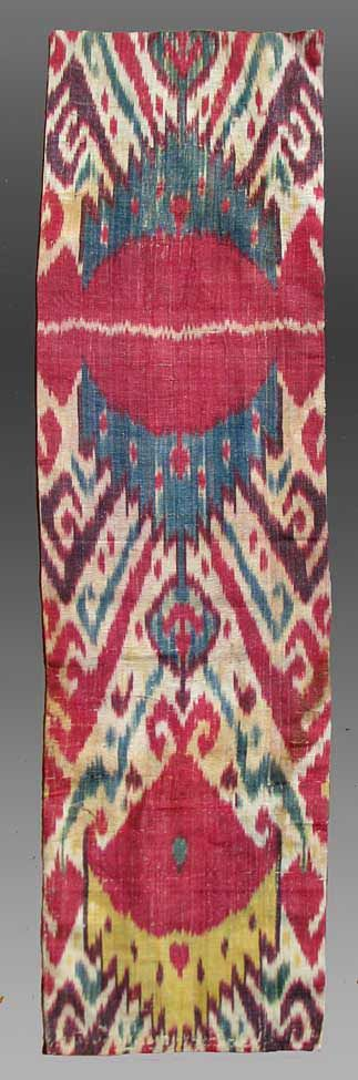 IKAT OF CENTRAL ASIA | Uzbek Ikat Panel, Central Asia, 19th century,11x 3 3