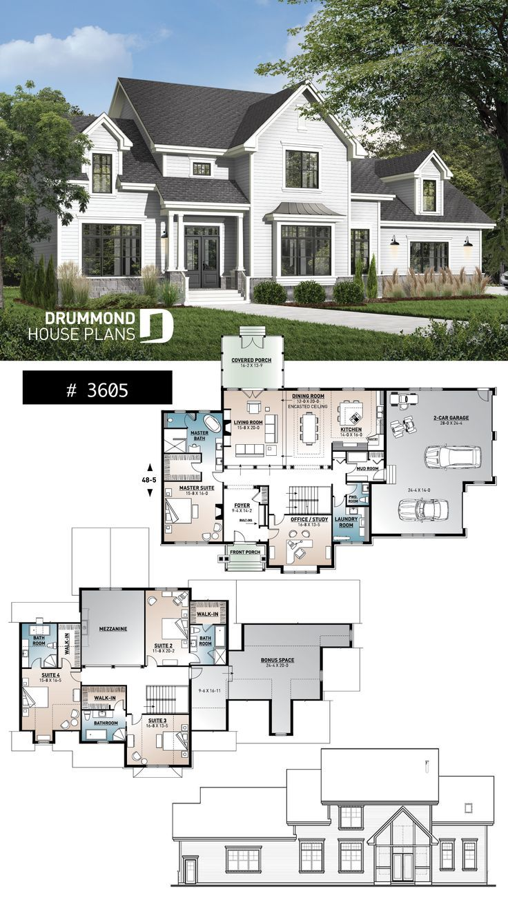 5 6 Bedroom With Side Garage Sims House Plans House Plans Farmhouse Dream House Plans
