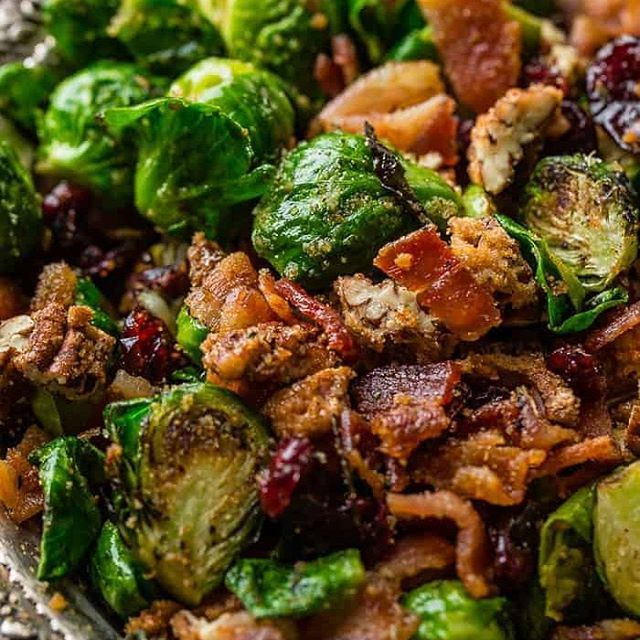 Don't be afraid ofBrussels Sprouts.Pan Roasted Candied Pecan Bacon Brussels Sproutsare seriously the bestside dishever! . . . https://ohsweetbasil.com/candied-pecan-bacon-brussel-sprouts-recipe/ . . . #candied #pecan #bacon #brusselsprouts #sidedish #theyaregood