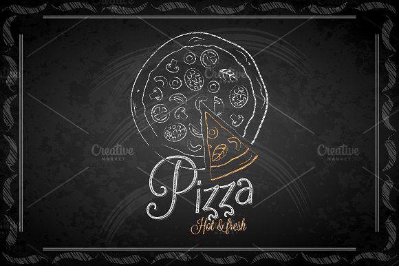 Chalkboard - frame pizza menu. #pizza #chalkboard