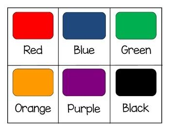 These are simple flashcards that can be used as a tool to teach colors, but can also be used as labels for color boxes for sorting and other activities. Can also be used for assessments as well.