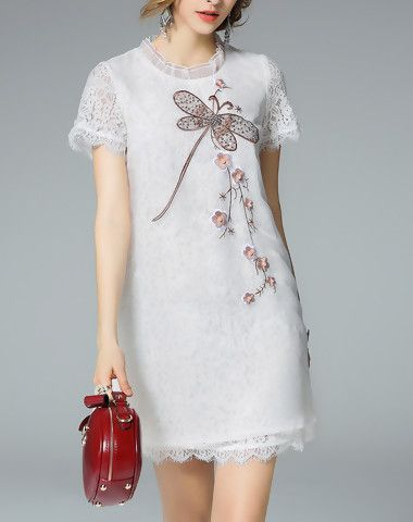Double Layer Sequece Embroidery A Line Lace Mini Dress