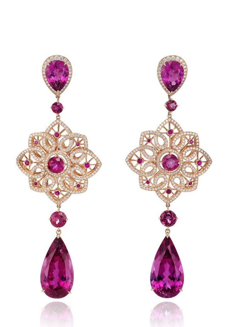 Chopard 'Byzantine' earrings with gold, diamonds and rubellites