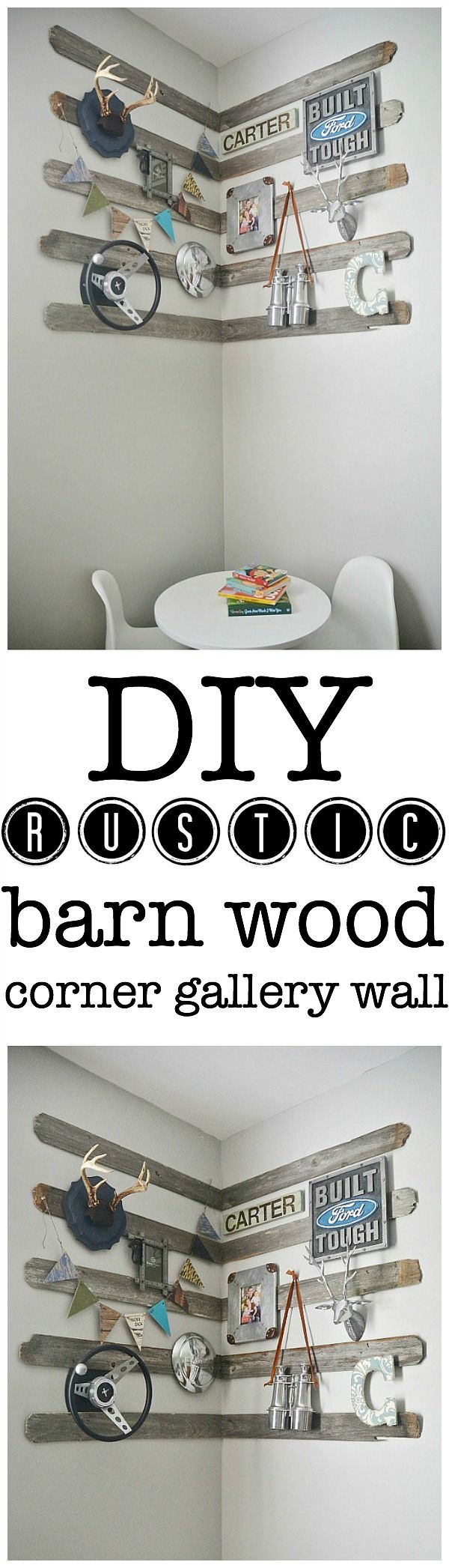 DIY corner gallery wall for a boys room using old barn wood, antlers, & other rustic details. The perfect focal point for any room & so easy...: Gallery Walls, Corner Gallery Wall, Wood Corner, Diy Rustic, Boys Room, Rustic Barns, Barns Wood, Diy Corner, Barn Wood