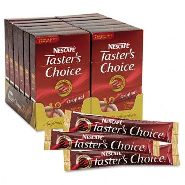 Nescafe Taster's Choice Coffee. From any store where they sell coffee. These single packs sell for a dollar depending on where you buy them.