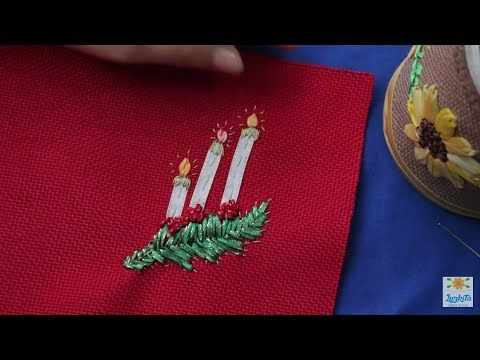INDIVIDUALES NAVIDEÑOS PASO A PASO BORDADOS EN CINTAS/NAVIDAD CON LUZKITA❤ - YouTube