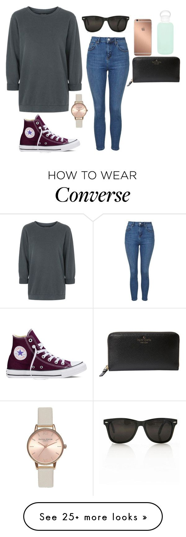 """""""Untitled #1319"""" by oswaldforthewin on Polyvore featuring Topshop, Converse, Kate Spade, Mura, bkr, women's clothing, women's fashion, women, female and woman"""