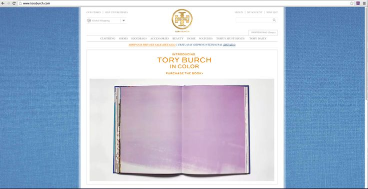 "This Tory Burch website looks very neat when you open it. I like the center aligned logo and center aligned global navigation. The center aligned text ""Tory Burch"" with a large image as the main content area keeps the rhythm of the page together. A viewers eyes would pick out immediately all the important information down the middle. This inspires me to potentially center align my logo with an image in the center of the main content area."