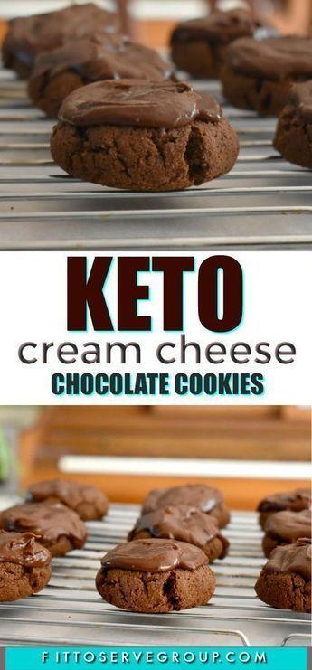 Reichhaltige und dekadente Keto-Frischkäse-Schokoladenkekse, die perfekte …