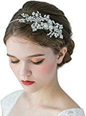 SWEETV Handmade Pearl Wedding Headband for Women Rhinestone Hair Band Bridal Hair Accessories