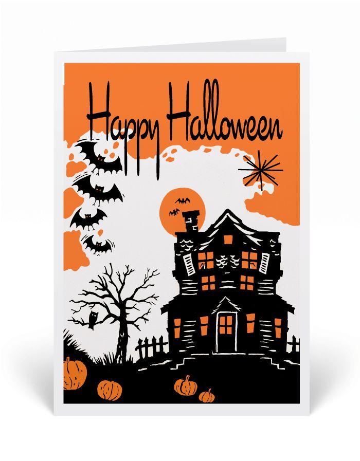 Vintage Halloween Greeting Cards, 1950s vintage Halloween cards, retro mid-century Halloween greeting cards