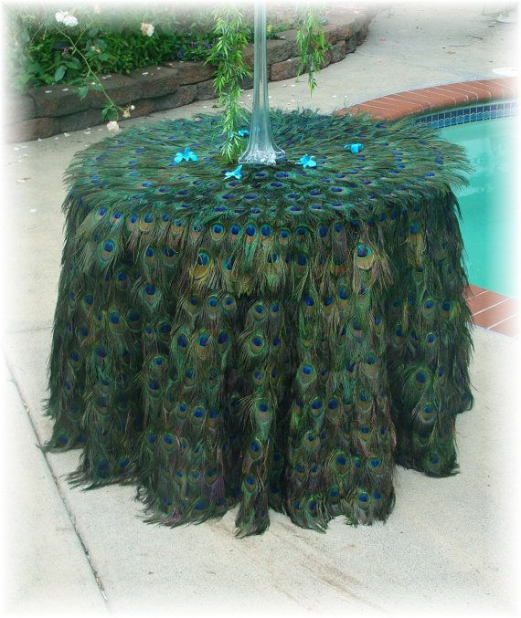 "50% DEPOSIT for Elaborate 36"" Round Peacock Feather Tablecloth. $800.00, via Etsy."
