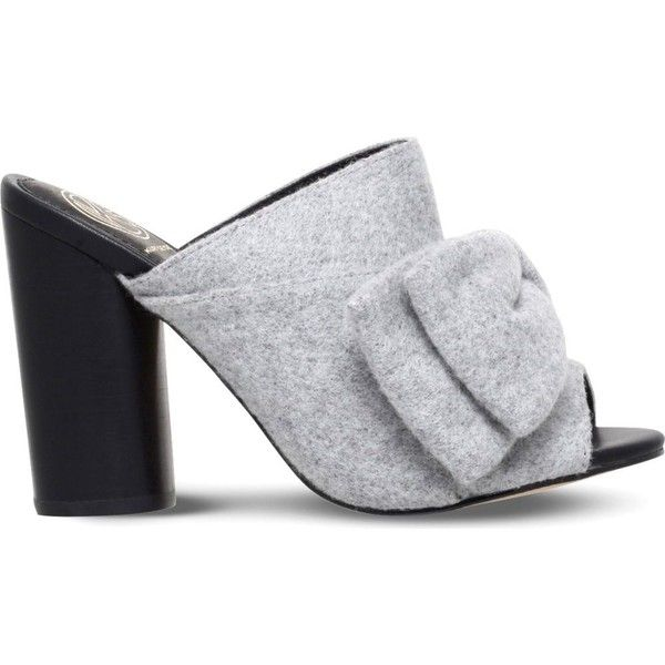 KG KURT GEIGER Jessie bow-detail fabric mules ($145) ❤ liked on Polyvore featuring shoes, grey, strappy high heel shoes, open-toe mules, high heel mules shoes, grey slip on shoes and open toe mules