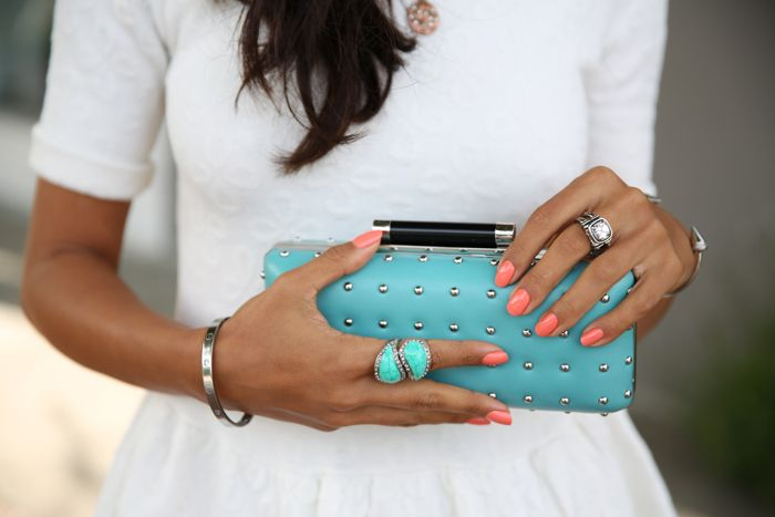 VIVALUXURY - FASHION BLOG BY ANNABELLE FLEUR: A TOUCH OF AQUAMARINE - WIN DVF STUDDED CLUTCH