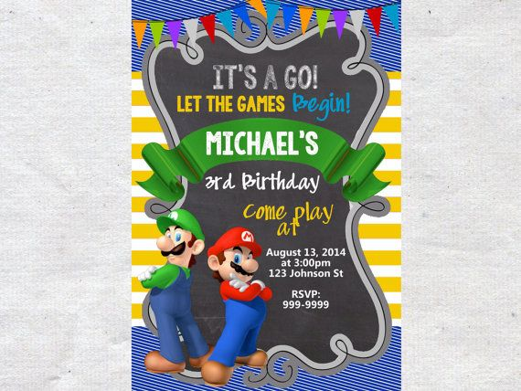 28 best Birthday Party Invitations images – Mario Bros Birthday Invitations