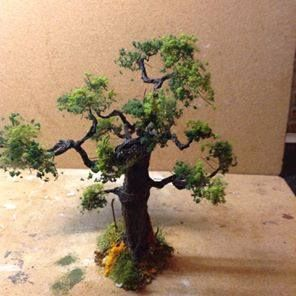Miniatures. John Byrne's tissue and wire trees