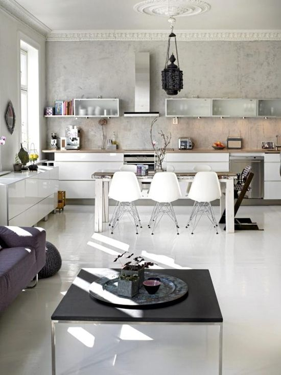 white / grey kitchen: Kitchens Design, Open Plans, Eames Chairs, Interiors Design, Kitchens Dining, Open Kitchens, Modern Kitchens, Design Blog, White Kitchens