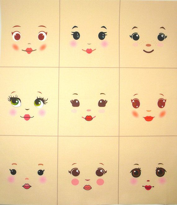 Sweet and simple cloth doll faces ready to sew fabric panel cream A8C