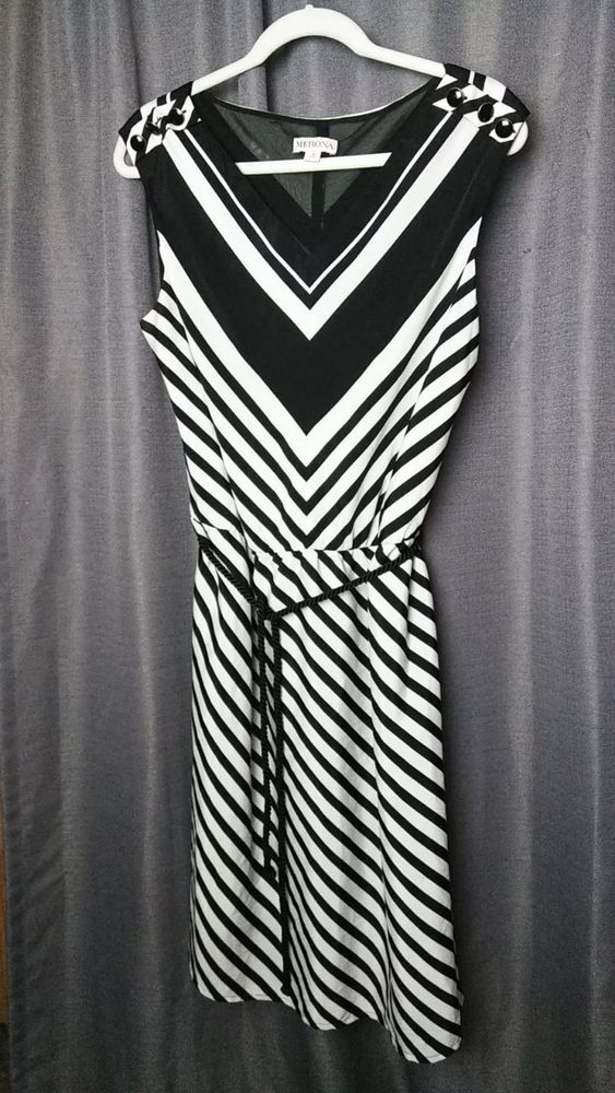 927dcaa258f8 MERONA WOMEN'S 16. BLACK & WHITE STRIPED DRESS CINCHED WAIST W/ ROPE BELT #