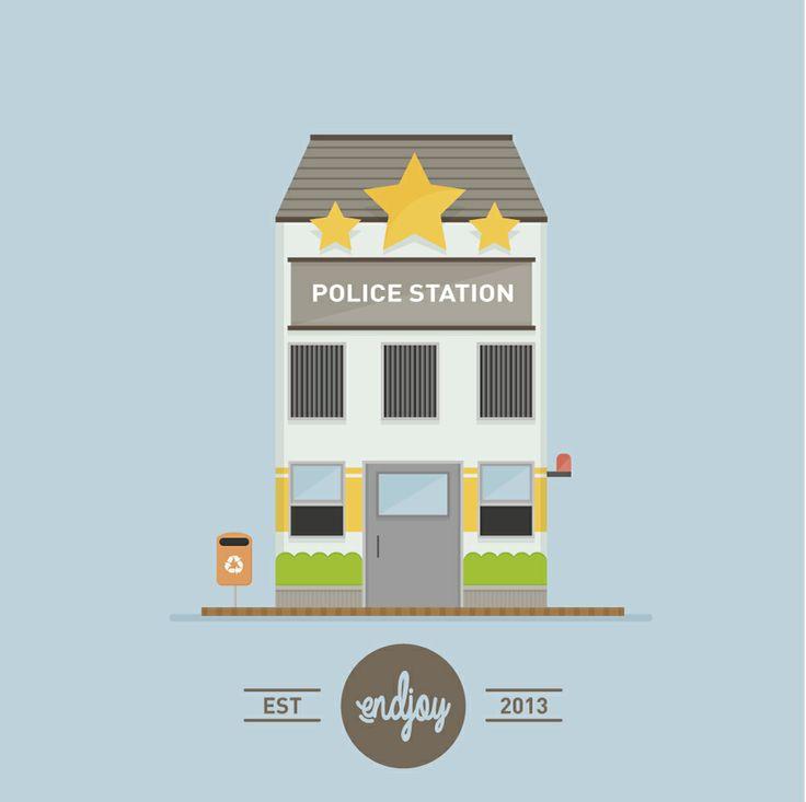 Flat Design Police Station