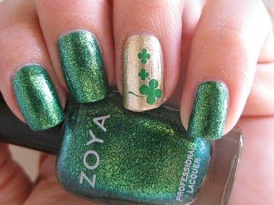 Elegant clover nail art , st patricks day manicure
