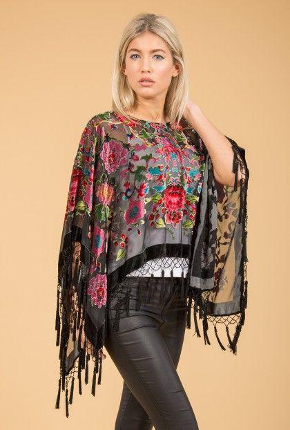 Black Floral Poncho   Jayley Silk Devore Poncho