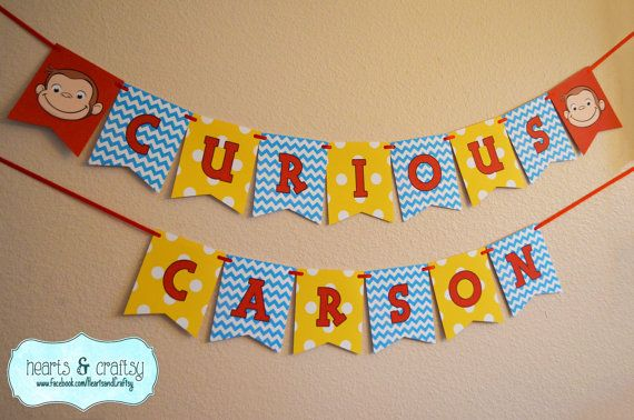 Curious George Birthday Happy Birthday Banner by HeartsandCraftsy                                                                                                                                                                                 More