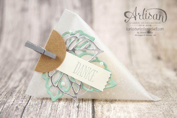 Stampin´ Up! - Designerpapier im Block Botanischer Garten - Dreiecks Verpackung…