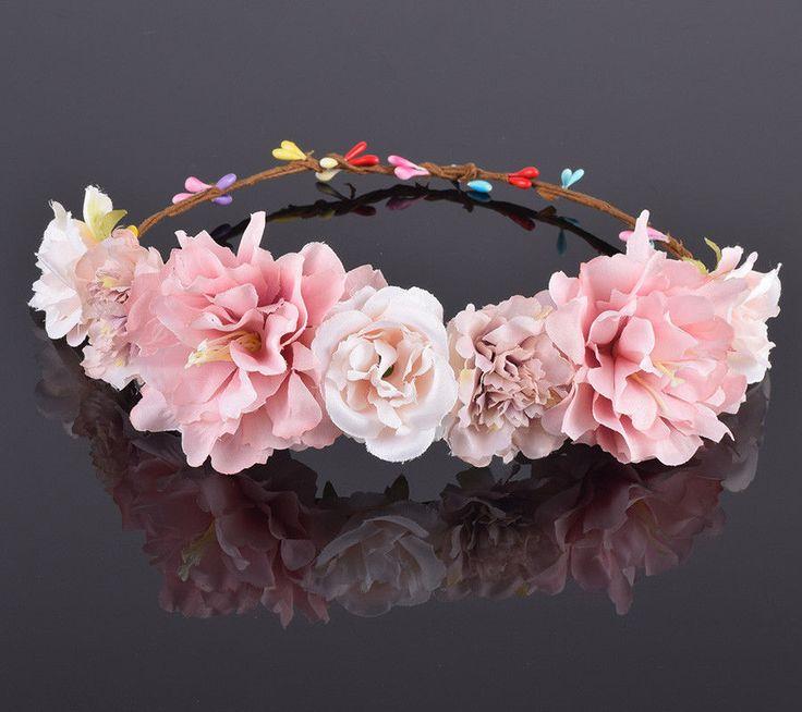 Rose Carnation Peony Flower Crown Bridal Floral Headband Wreath Wedding HairBand #Unbranded #Novelty #partydailyweddingphotographyfestival