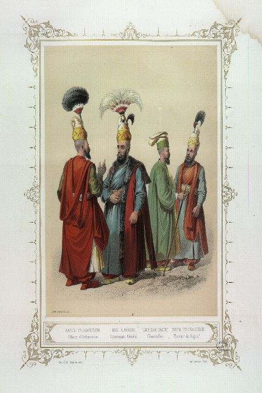 12 Bash Cavus, Officer of Order. Kol Kiayassi, Lieutenant General. Capidji Baschi, Chamberlain. Tschaousch Orta, Regimental Fourrier. Elbicei Antiquities. Museum of Old Turkish Costumes of Istanbul by Jean Brindesi and colourists: Bayalos, Raunheim and Lemoine. Published by Lemercier, Paris, 1855
