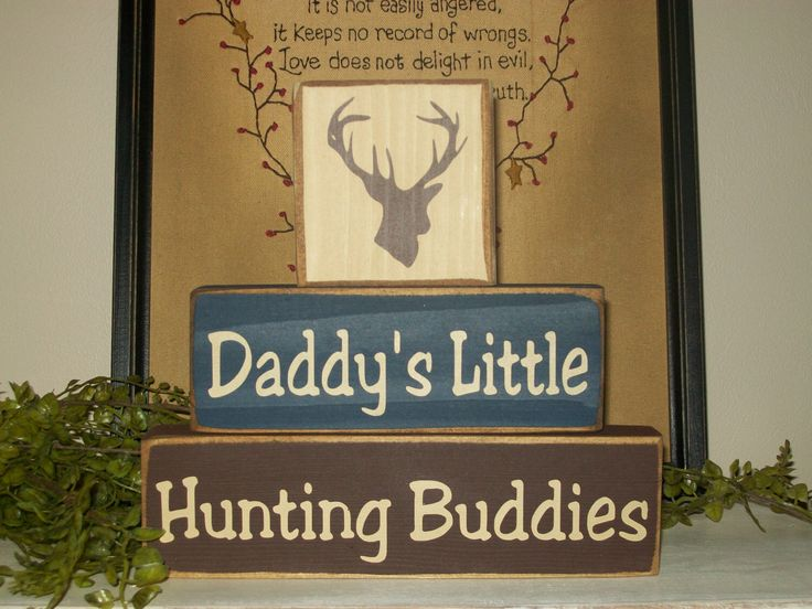 Rustic Distressed Daddy's Little Hunting Buddies Wood Block Sign Boys Room Decor Deer Stacking Blocks