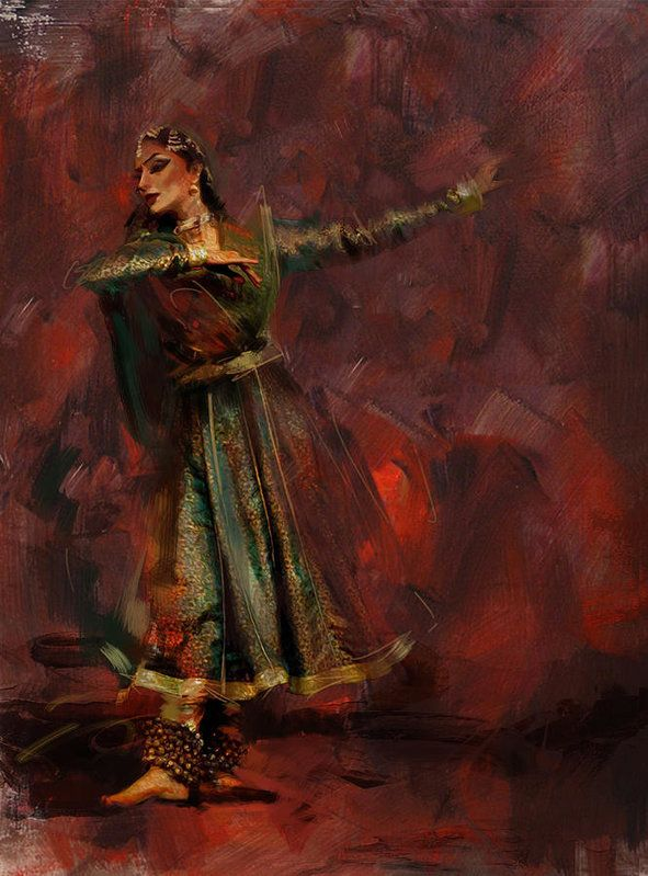 Zakir Print featuring the painting Classical Dance Art 7 by Maryam Mughal