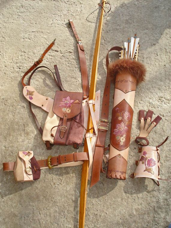"""Multifunctional Tooled Leather Quiver Set Holding a Bow with a Detachable Pouch and Detachable Backpack """"Nicole"""""""