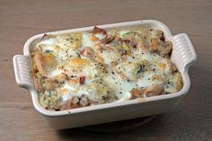 Kip in roomsaus, geen cayennepeper toegevoegd en in plaats van ham spekblokjes (ham is ook goed)