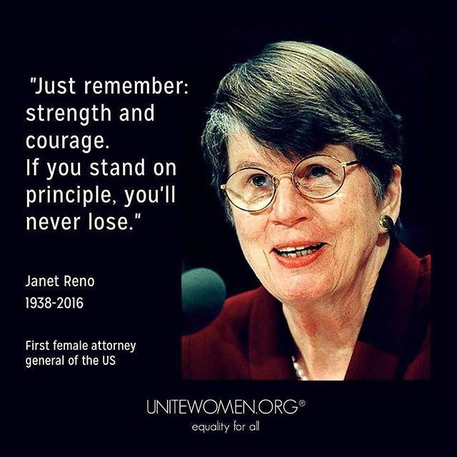 """#RIP Janet Reno (1938-2016) """"Janet Reno led with her values. And that meant that if she decided that a certain path was the right thing to do, the people around her believed her and would charge up any hill behind her. ... I'd never seen that before in quite the same way."""" - former Deputy Attorney General Gorelick  http://www.npr.org/sections/thetwo-way/2016/11/07/348021773/janet-reno-first-female-u-s-attorney-general-dies-at-78"""