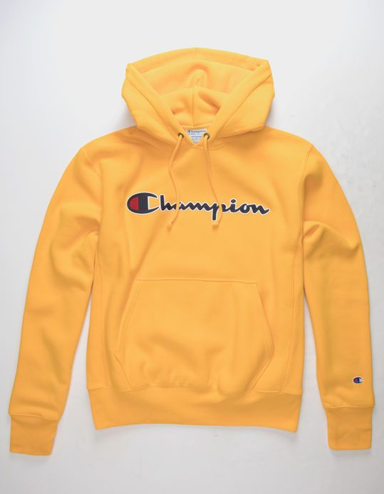 the latest a3417 1c647 CHAMPION Reverse Weave Chain Stitch Script Logo Gold Mens Hoodie -  64.99 -  tillys.com