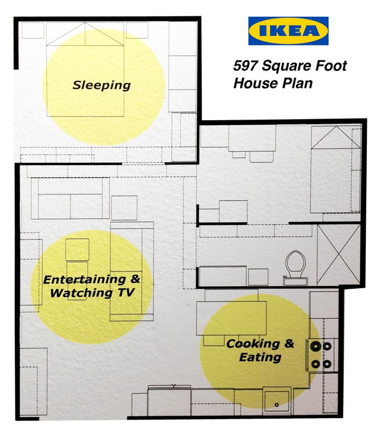 Tiny house floor plan with furnishings to scale.