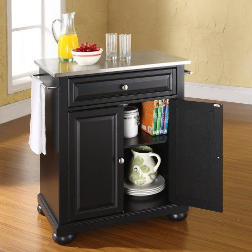 Crosley Alexandria Stainless Steel Top Kitchen Island - Constructed of solid hardwood and wood veneers, the Alexandria Stainless Steel Top Kitchen Island is designed for longevity. The beautiful raised...