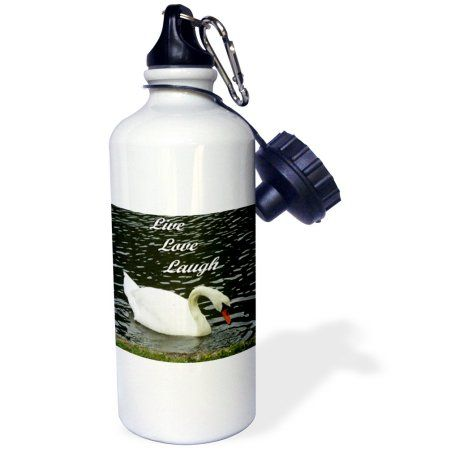 3dRose Live Love Laugh Swan, Sports Water Bottle, 21oz