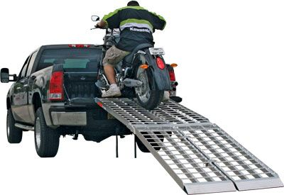 The VMRPS-MF2-12038 Motorcycle loading ramps are by far the most innovative ramp system to hit the market! Packed full of features allowing you to load not just motorcycles, but ATV's, golf carts, UTV's, zero turn lawnmowers, and just about any pneumatic wheel vehicle up to 2500 lbs.! The VMRPS-MF2-12038 is constructed of lightweight, rustproof aluminum and consists of 2 separate single runner ramps that can be connected together with (4) included connecting brackets.
