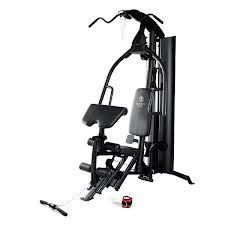 Online Gym Shops CB15185 Marcy 150 lbs. Stack Gym. 14 - gauge steel tube framing. High and low pulley stations. Adjustable preacher curl bicep pad. Oversized foam roller pads. Dual-function press arm.