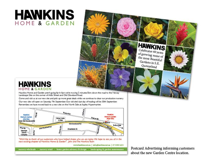 A postcard to let customers of Hawkins Home & Garden know they are re-locating