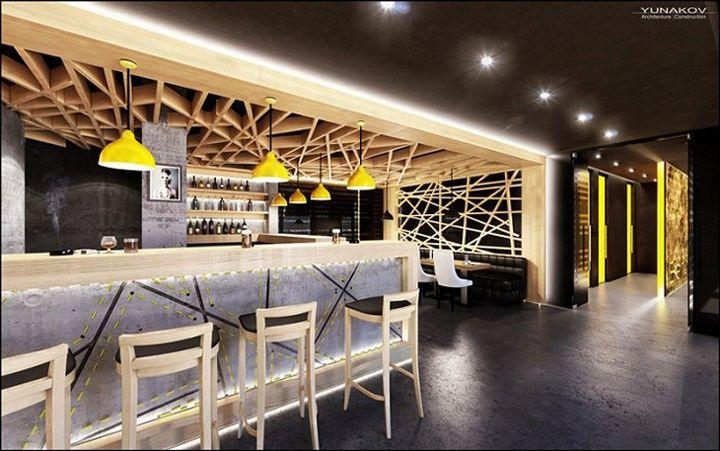 Concrete bar restaurant by Yunakov Studio Kiev Ukraine