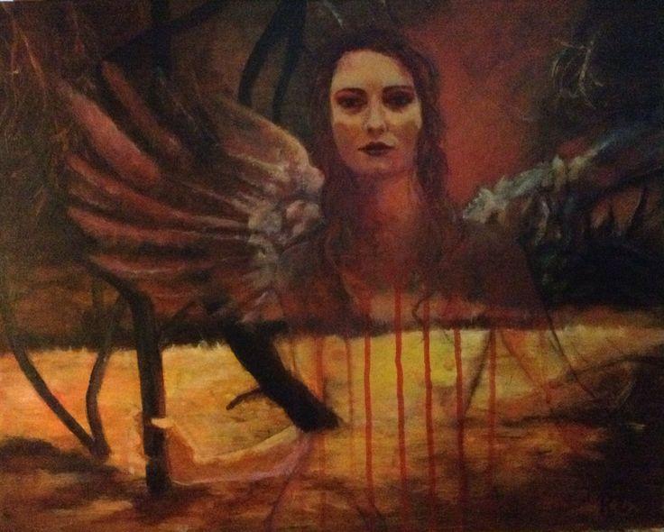 #mixed media on canvas#angel#40X50#rithva