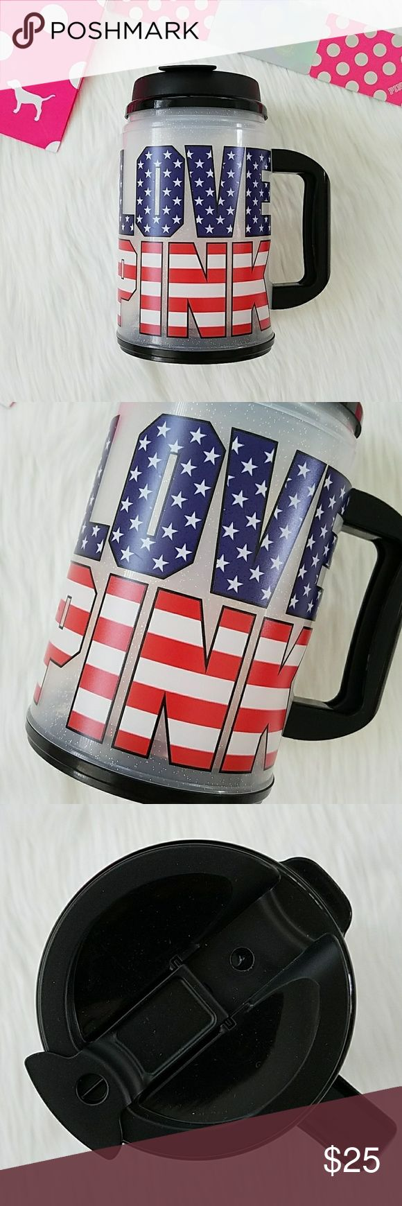 Victorias Secret PINK American Flag Mug Stars USA Victoria's Secret PINK American Flag Mug Brand new Flip top Handle Glitter mug showcasing a LOVE PINK logo in red, white, and blue  Celebrate the stars and stripes on Memorial Day, July 4th Independence Day, celebrate your loved ones in military service, or just celebrate our nation America every day day :) PINK Victoria's Secret Other