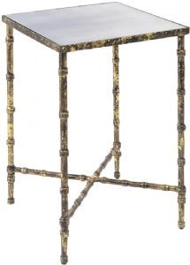 Alexander And Pearl | Antique Gold Bamboo Mirrored Side Table | £175 | H: