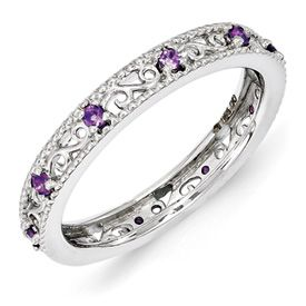 Stackable Expressions Sterling Silver Amethyst Ring. Sale Priced At $55.  Sizes 5-6-7-8-9-10.
