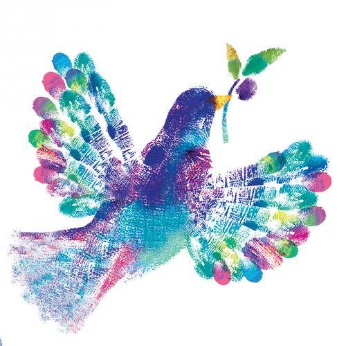Colourful Fingerprint Dove Design Titled Flight To