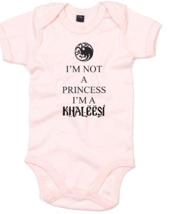 I'm Not A Princess I'm A Khaleesi, Game of Thrones inspired Kid's Printed Baby Grow: Amazon.co.uk: Clothing