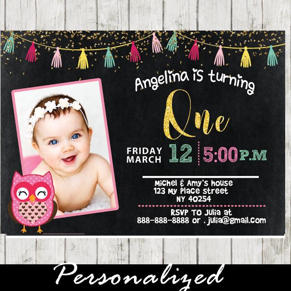 Best Owl Birthday Party For Girls Invitations Images On - 1st birthday invitations girl owl